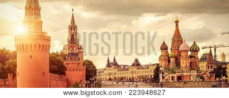 Panoramic view of Moscow Kremlin and Cathedral of St. Basil on the Red Square in Moscow, Russia. The Red Square is the main tourist attraction of Moscow.