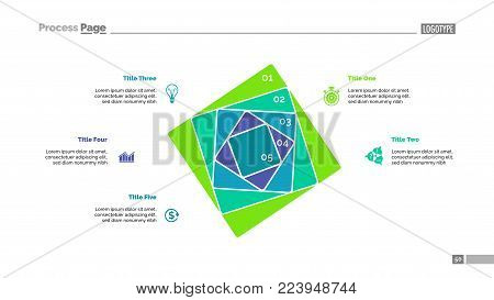 Five squares process chart slide template. Business data. Strategy, step, design. Creative concept for infographic, presentation, report. For topics like marketing, insurance, stock market.