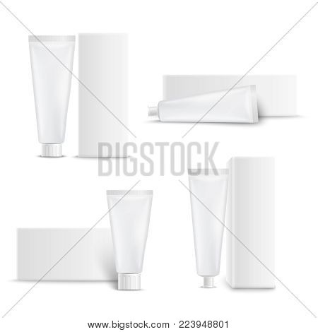 Dental care toothpaste and personal hygiene nourishing creams realistic blank mockup white tubes packaged set vector illustration
