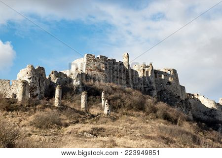 Spis Castle, Slovakia, on the background of blue sky.