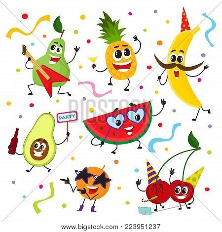 Set of fruit characters having fun at birthday party, dancing, singing, making selfie, cute cartoon vector illustration isolated on white background. Set of funny fruit characters having party