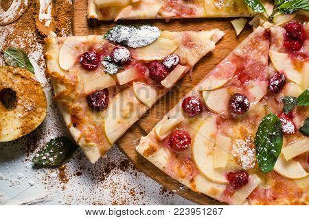 food photography art. apple pie recipe. creative restaurant fruit pizza menu concept