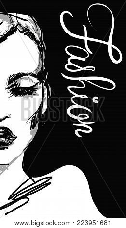 vogue graphic woman portrait with black gloss lips and slogan fashion. fashion vector illustration . poster