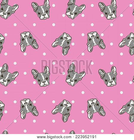 Cute Dog Face Cartoon Seamless Repeat Pattern - Boston Terrier, French Bulldog - Turquoise Green Background with Grey Dogs Color Palette on pink background