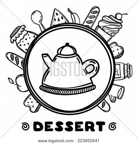 Cartoon teapot with food on white background. Hand drawn illustration. Pastry concept. Dessert time.