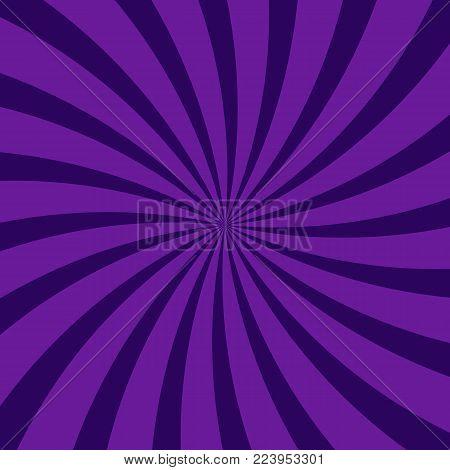 Abstract swirling radial dark purple pattern background. Vector design twisted spiral ray stripes. Vortex starburst spiral swirl wallpaper