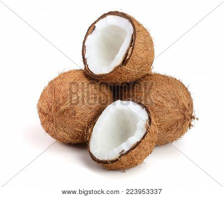 whole coconut and half isolated on white background.