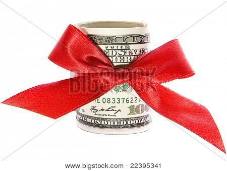 dollars with a red bow