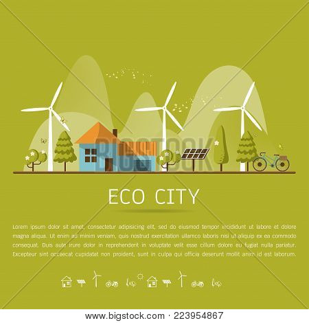 Vector illustration of eco home with of wind turbine, bike , solar cell ,house, and trees. Background for save earth day. Environmental, ecology, nature protection and pollution concept.