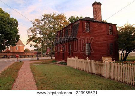 WILLIAMSBURG, VA - OCTOBER 6: The Lightfoot Tenement is one of the numerous historical structures that attract countless visitors to Colonial Williamsburg each year October 6, 2017 in Williamsburg, VA
