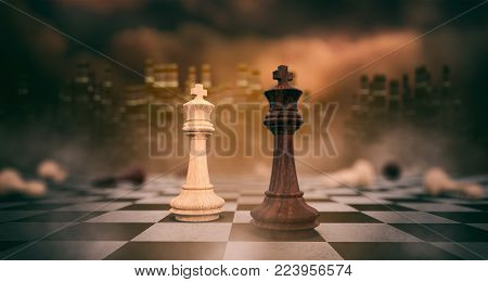 white and black kings on a chessboard at the end of the battle, concept of competition (3d render)