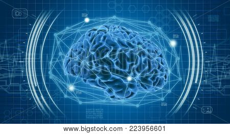human brain with futuristic interface, concept of medical technology (3d render)