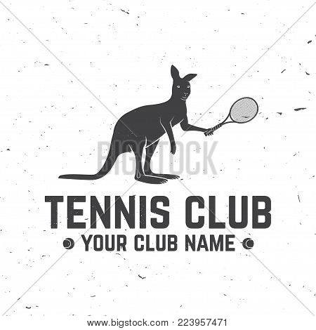 Tennis Academy. Vector illustration. Concept for shirt, print, stamp or tee. Vintage typography design with tennis racket and kangaroo silhouette.