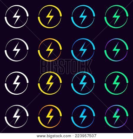 Set of Electrical Signs. Vector Illustration of Electric Energy Symbol in Different Colors and Gradients. Current Circulation.