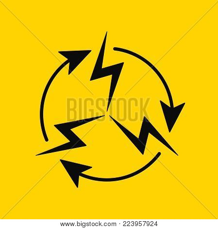 Sign of Electrical Circulation. Vector Icon of Electric Energy Circulation in Black and on Yellow Background. Electric Power