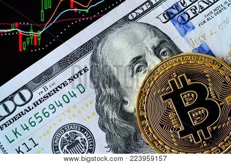 Bitcoin. Crypto currency Bitcoin, BTC, Bit Coin. Bitcoin golden coin on dollar banknote and chart under banknote. Blockchain technology, bitcoin mining concept