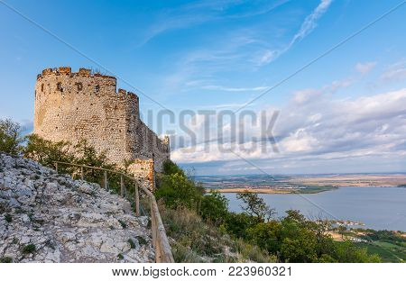 Castle In Palava, Czech Republic, Ruins Of Wall, Landscape Panorama Of Near Village