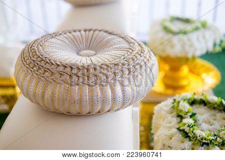 Round pillow for wedding. According to Thai wedding tradition.