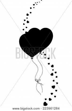 Black silhouette of couple heart shaped helium balloons bounded together and vertical wave made of  many little hearts confetti isolated on white. Vector illustration, icon, logo, festive clip art.
