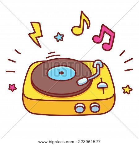 Cartoon hand drawn retro vinyl record player. Disco DJ turntable playing music, bright vector illustration.