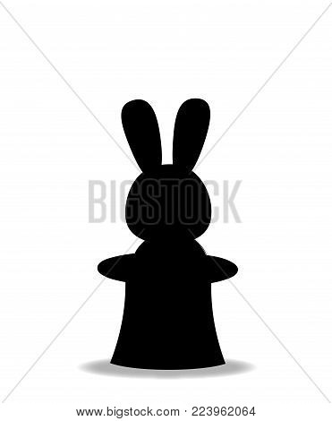 Black silhouette of rabbit sitting in the magic cylinder top hat isolated on white background. Monochrome vector illustration, sign, symbol, icon, clip art for design.