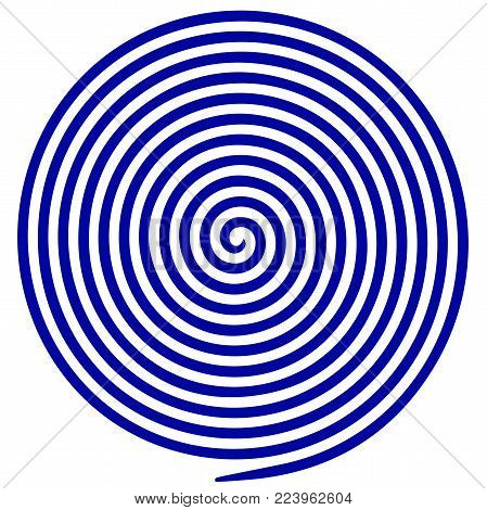 Blue and white round abstract vortex hypnotic spiral. Vector illustration optical illusion helix anaglyph opt art illustration. Volute, maze, concentric lines, circular, rotating clip art isolated.