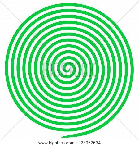 Green and white round abstract vortex hypnotic spiral. Vector illustration optical illusion helix anaglyph opt art illustration. Volute, maze, concentric lines, circular, rotating clip art isolated.