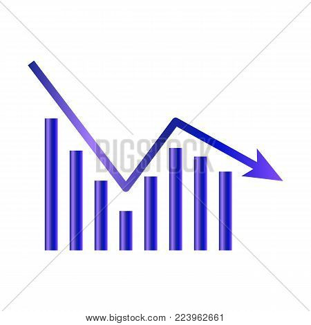Business graph icon isolated on white background. Downside trend graph, bar chart image with arrow down. Vector illustration for banner, template, poster, postcard, web, app, infographics.