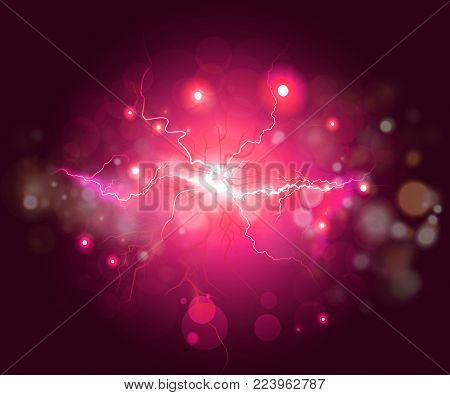 Plasma or lightning fractal, abstract energy background. Colorful abstract psychedelic lightning with deep red sky and effects.