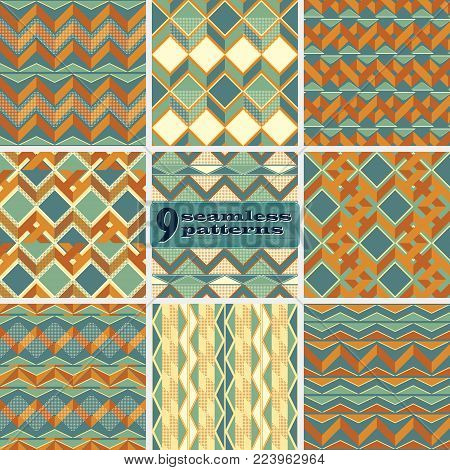 Set of seamless abstract geometric patterns with zigzag in retro color palette