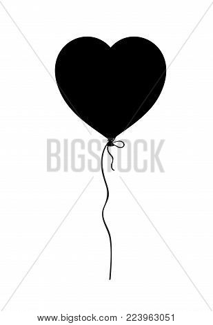 Black silhouette of heart shaped helium balloon isolated on white background. Vector illustration, icon, logo, clip art, element for love festive design.