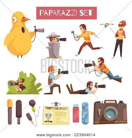 Paparazzi photographers taking pictures cartoon icons collection with camera microphone id card and usb stick vector illustration