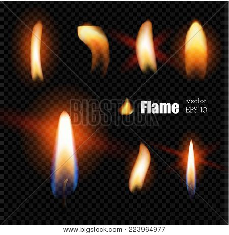 Vector realistic candle fire, cigarette lighter flame. 3d glowing illustration, glowing burning flare on dark transparent background. Ignition blazing object for poster banner design.