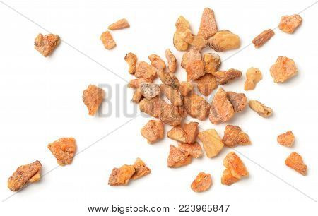 close up of benzoin resin isolated on the white background