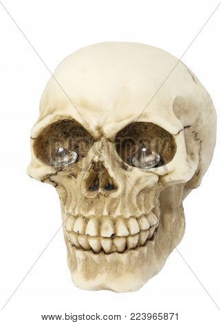 scary pirate skull with diamonds in eye sockets