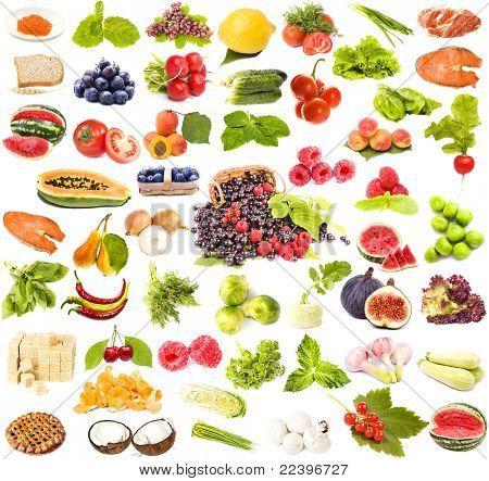 große Sammlung lecker gesundes Essen auf weißem Hintergrund