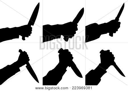 Silhouette of killing knife holding  in hand. Set. Vector.