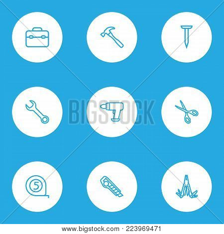 Handtools icons line style set with shears, meter, tool and other multifunctional pocket elements. Isolated vector illustration handtools icons.