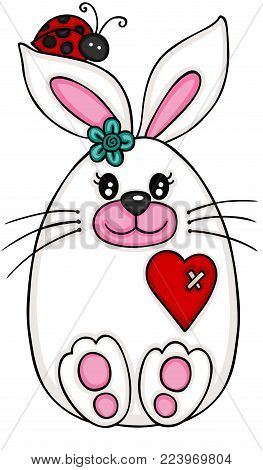 Scalable vectorial representing a cute Easter bunny, illustration isolated on white background.