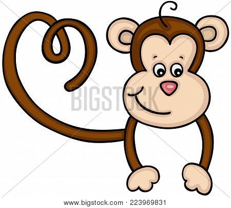 Scalable vectorial representing a cute monkey peeking over, illustration isolated on white background.