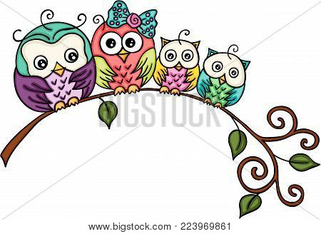 Scalable vectorial representing a cute owl family on a branch, illustration isolated on white background.