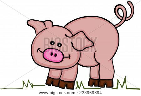 Scalable vectorial representing a cute pink pig, illustration isolated on white background.