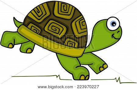 Scalable vectorial representing a cute turtle running, illustration isolated on white background.