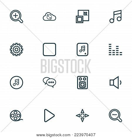 Music icons line style set with musical note, filmstrip, file and other begin elements. Isolated vector illustration music icons.