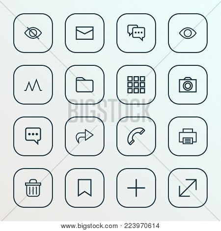 Interface icons line style set with folder, mail, camera and other resize elements. Isolated vector illustration interface icons.