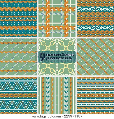 Set of seamless geometric serpentine patterns in retro color palette