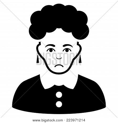 Sad Brunette Woman vector pictogram. Style is flat graphic black symbol with depression expression.