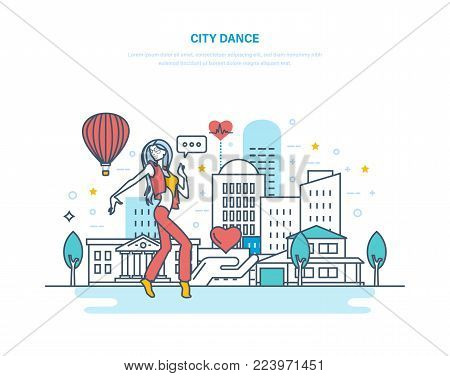 City dance. Young woman dancing popular dance in recreation park, against background of city, in warm summer weather. Active way of life, dancing and jumping in street. Illustration thin line design.