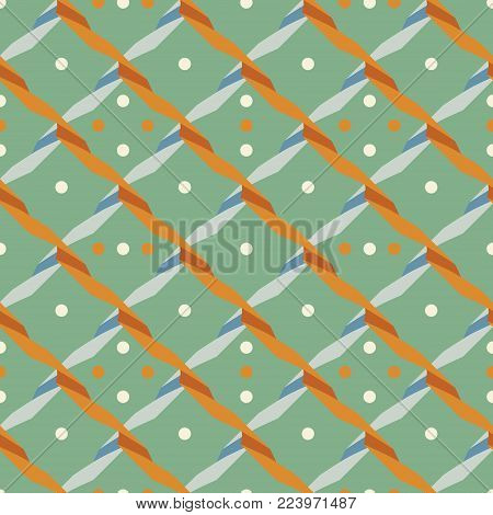 Seamless abstract geometric pattern with criss-cross serpentine and dots in retro color palette