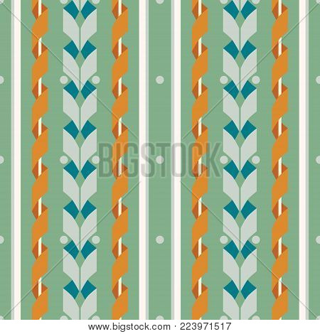 Seamless abstract geometric pattern of wide vertical stripes with serpentine. Rustic style, retro color palette